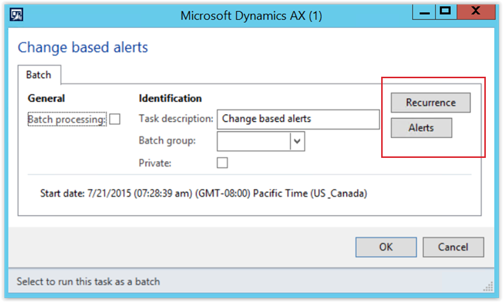 Changed based alerts batch parameters form