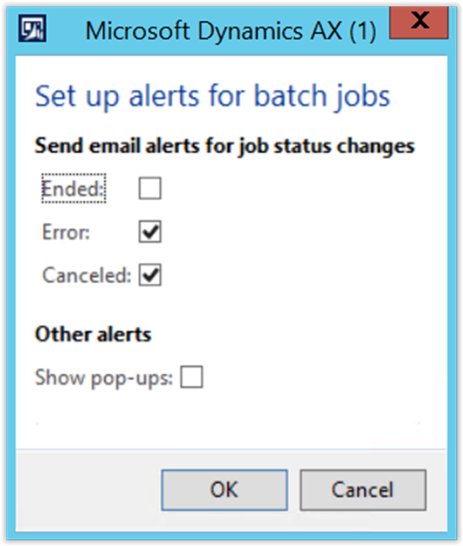 Batch Jobs Alert Settings