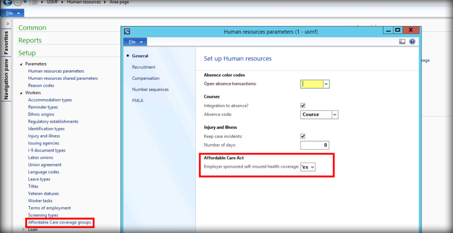 Setting up ACA form 1095-C reporting in Dynamics AX 2012 and D365